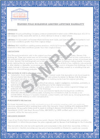 Hansen Pole Buildings Exclusive Limited Lifetime Warranty