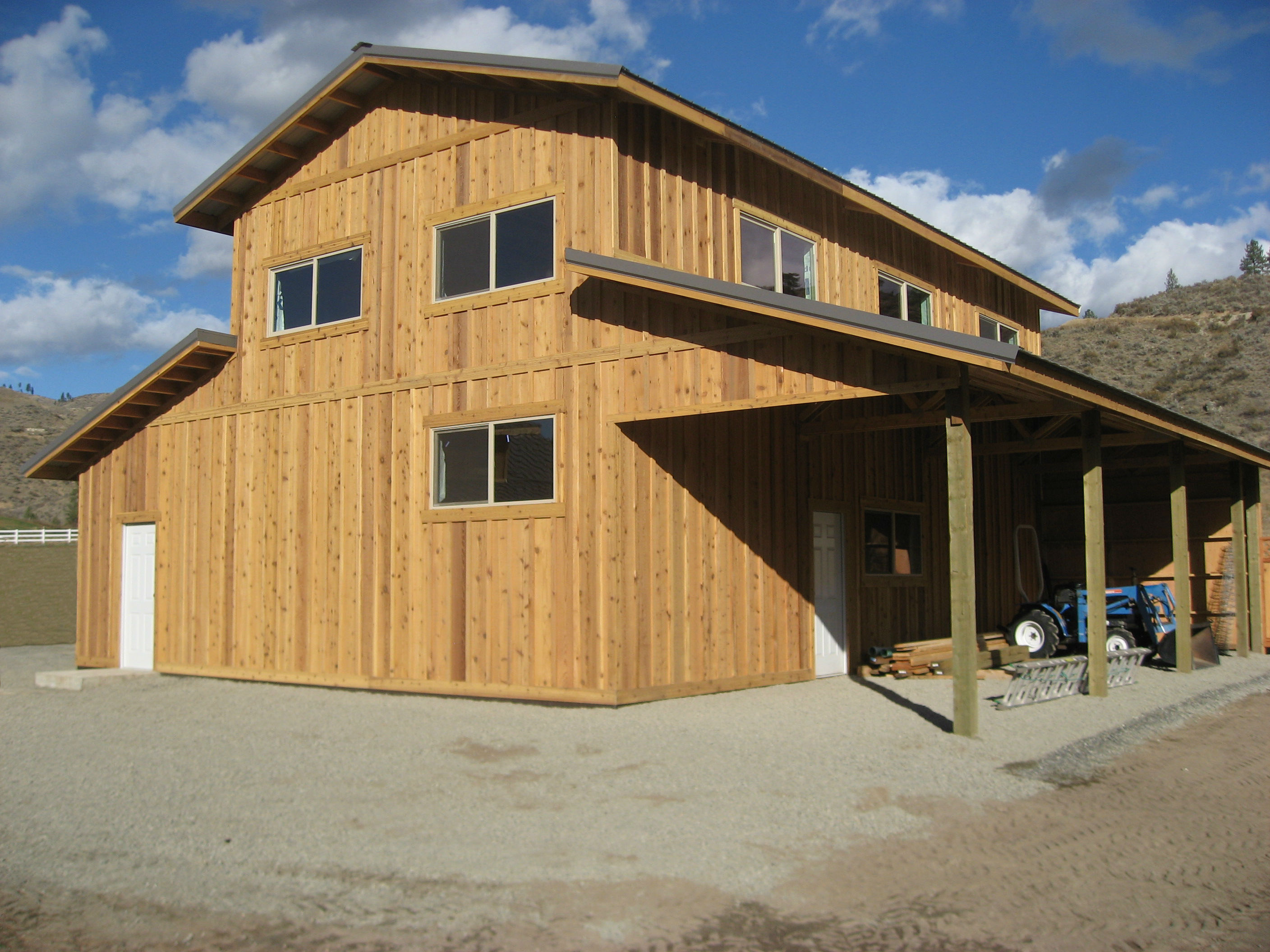 Custom pole building cabin kits hansen buildings for Garage building designs