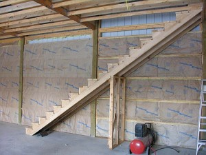 Pole barn stairs archives hansen buildings for How to build a pole shed step by step
