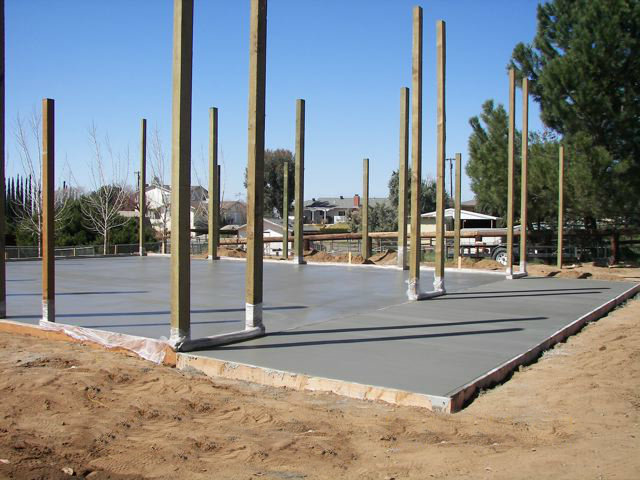 Concrete slab in a pole barn