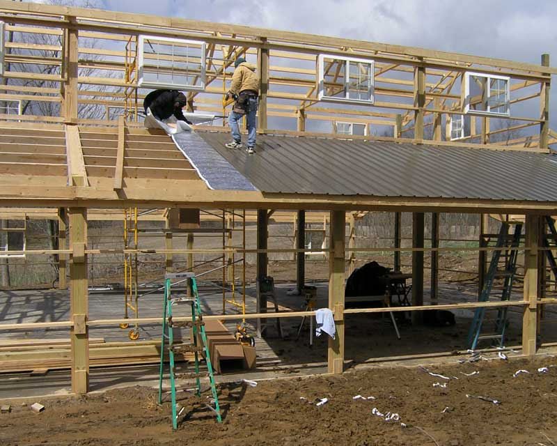 Shed insulation hansen buildings for Pole barn greenhouse