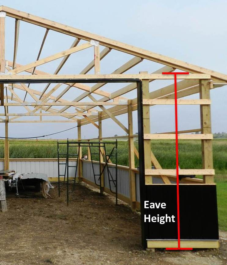 Overhead doors and eave height hansen buildings for Pole barn roof pitch