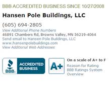 Hansen Buildings BBB Rating