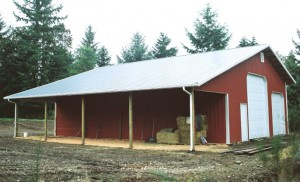 Pole barn with sideshed