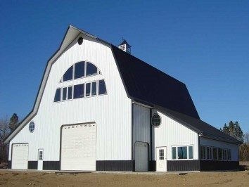 Gambrel roof pole barn