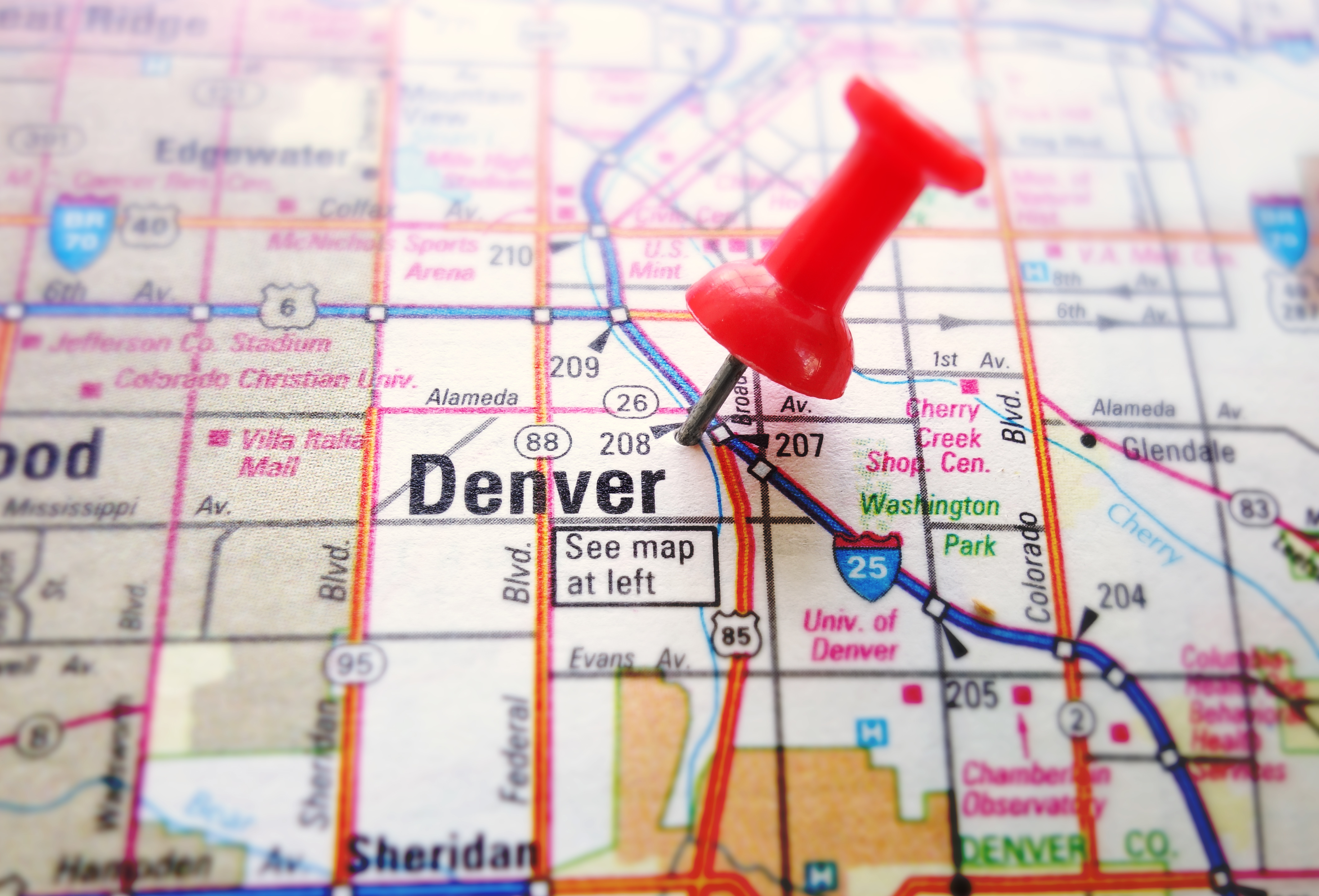 Denver Colorado on a map