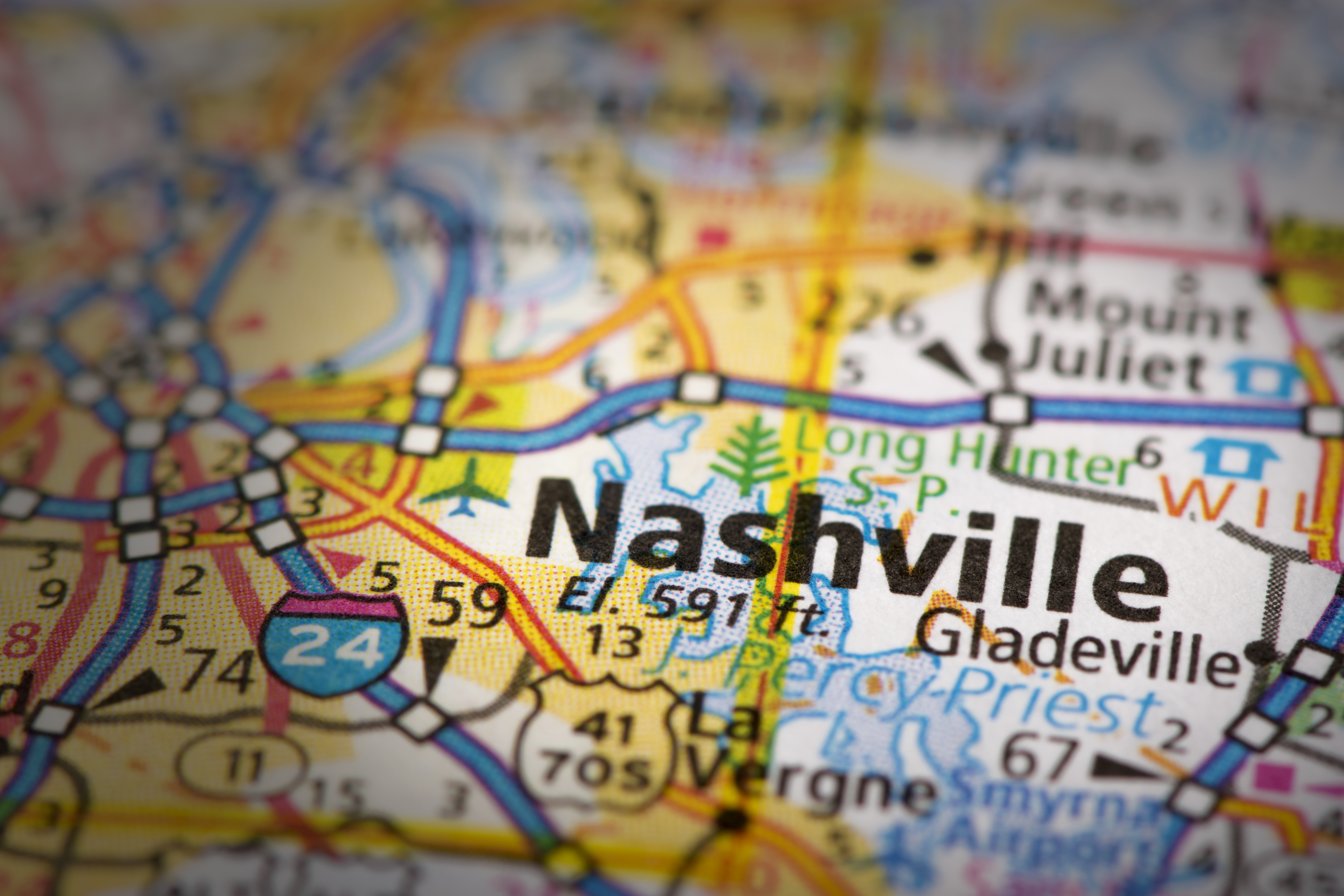 Nashville Tennessee on a map