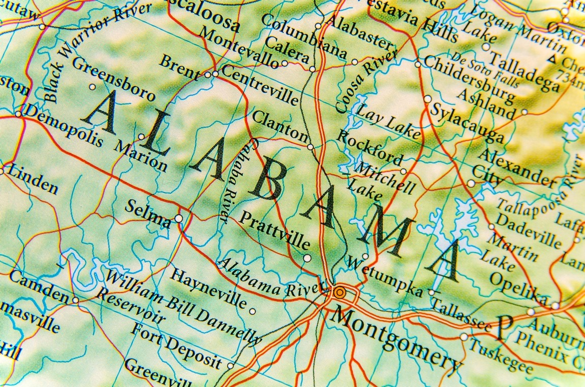Geographic map of Alabama close up