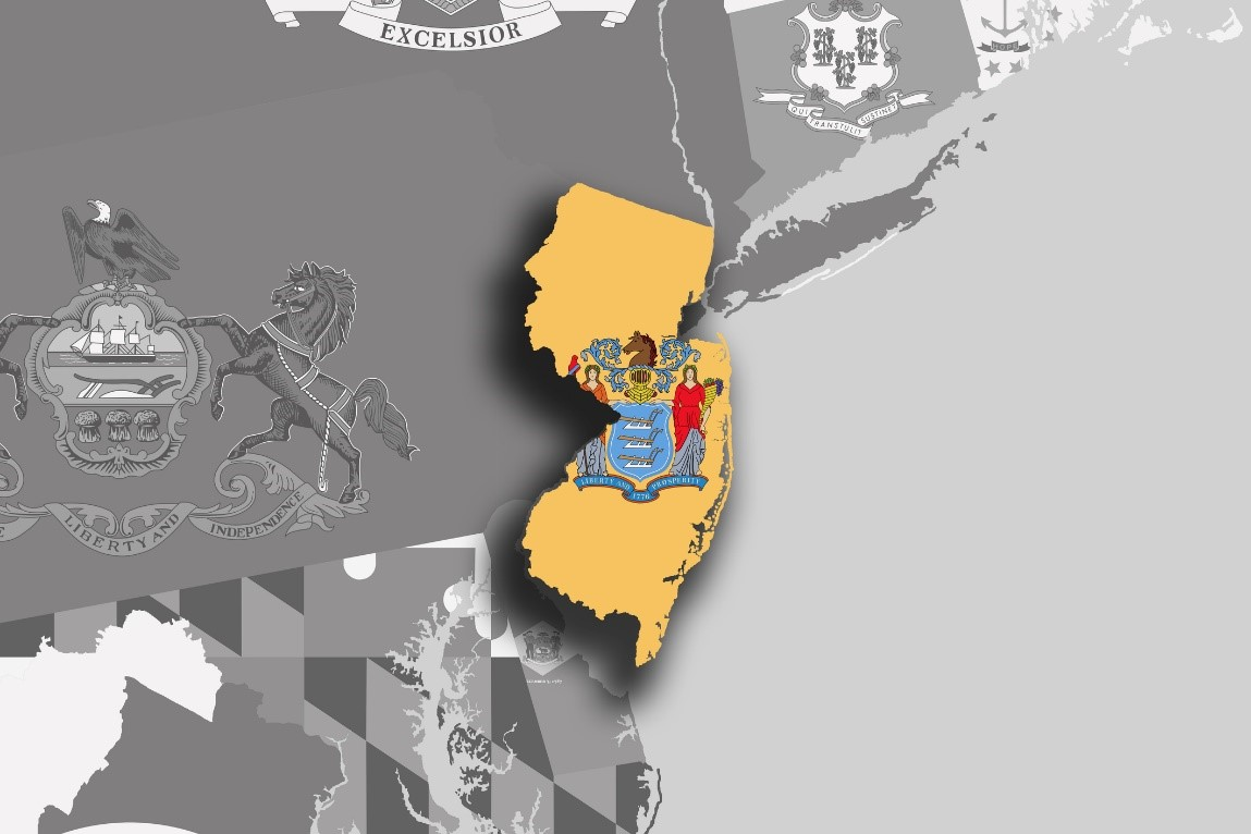 Illustration of the state of New Jersey's silhouette within map and flag